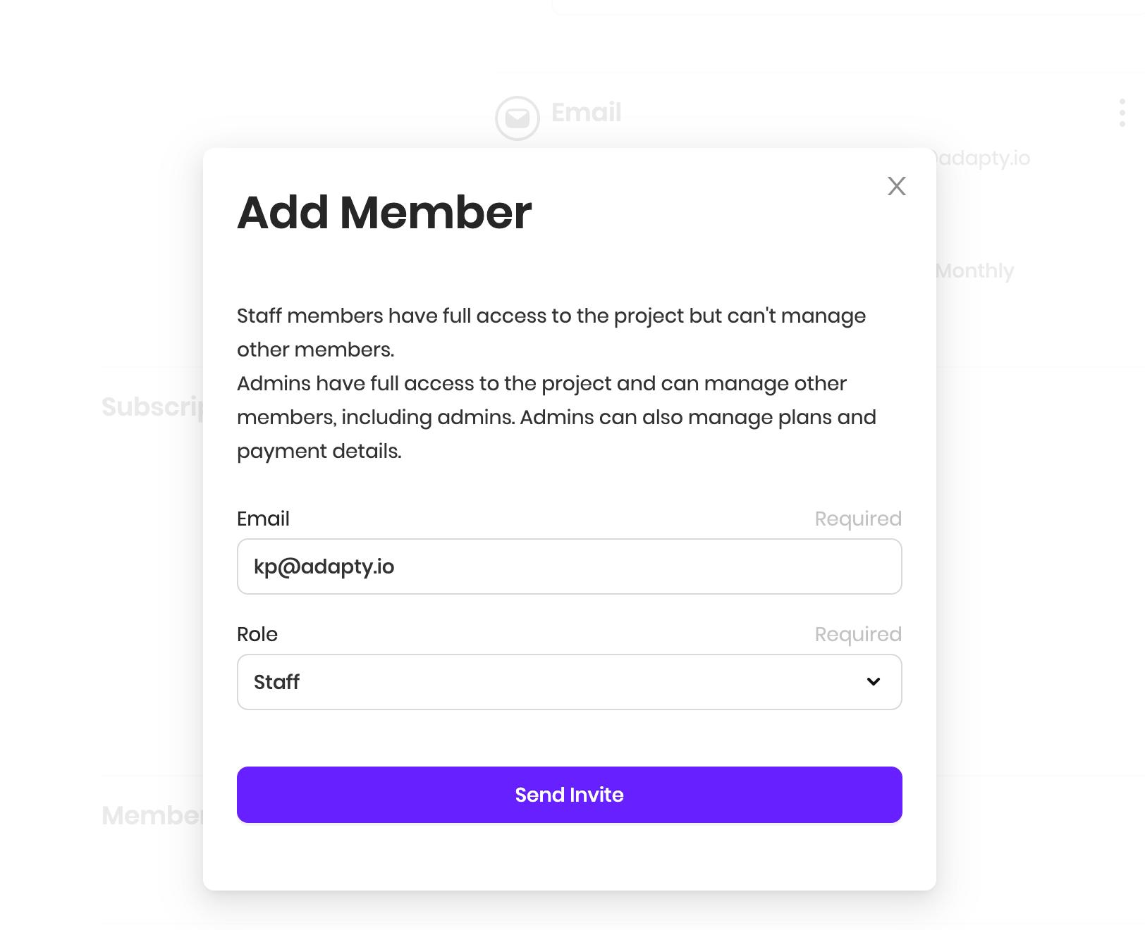 adding members to adapty