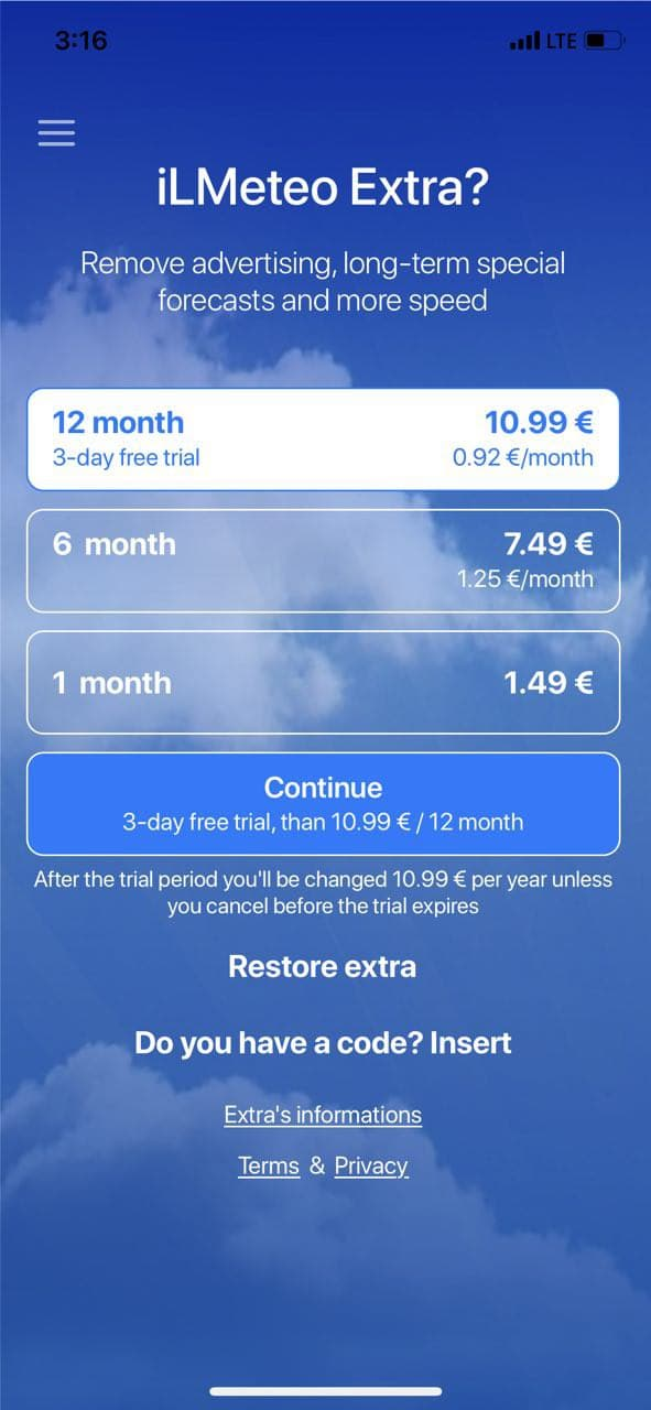 mobile paywall screen example for apps from Weather category – Meteo - by iLMeteo.it