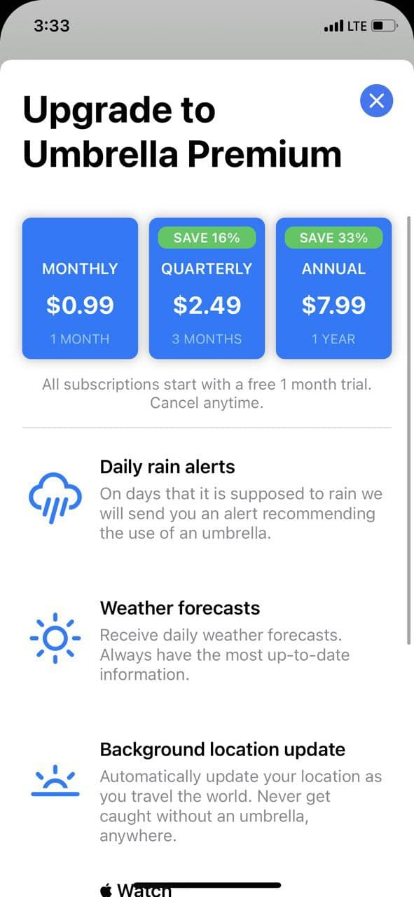 mobile paywall screen example for apps from Weather category – Umbrella – Daily rain alerts