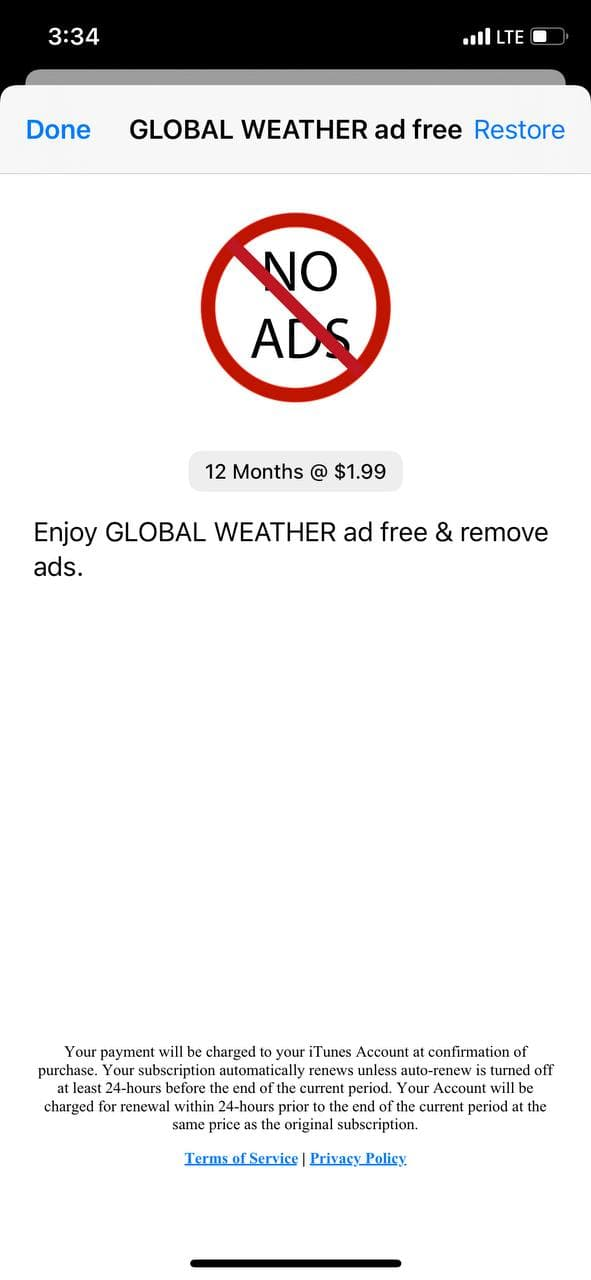 mobile paywall screen example for apps from Weather category – Global-Weather