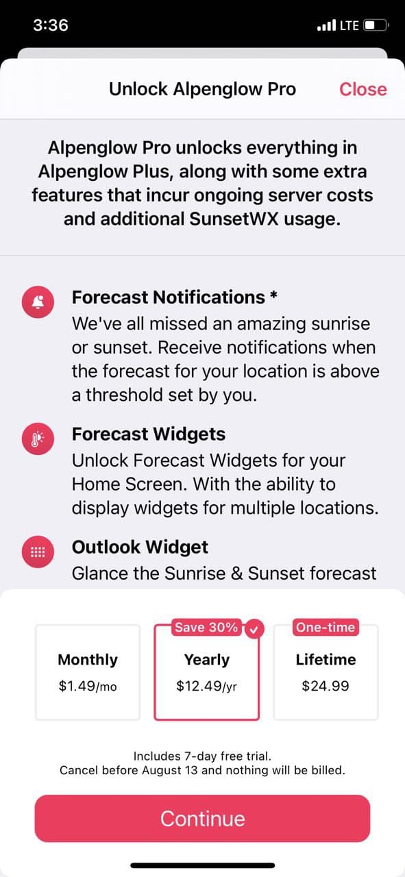 mobile paywall screen example for apps from Weather category – Alpenglow: Sunset Forecasts