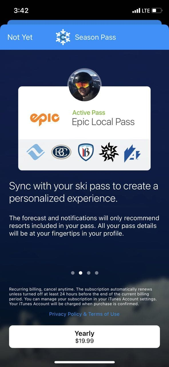 mobile paywall screen example for apps from Weather category – Fresh Snow Colorado