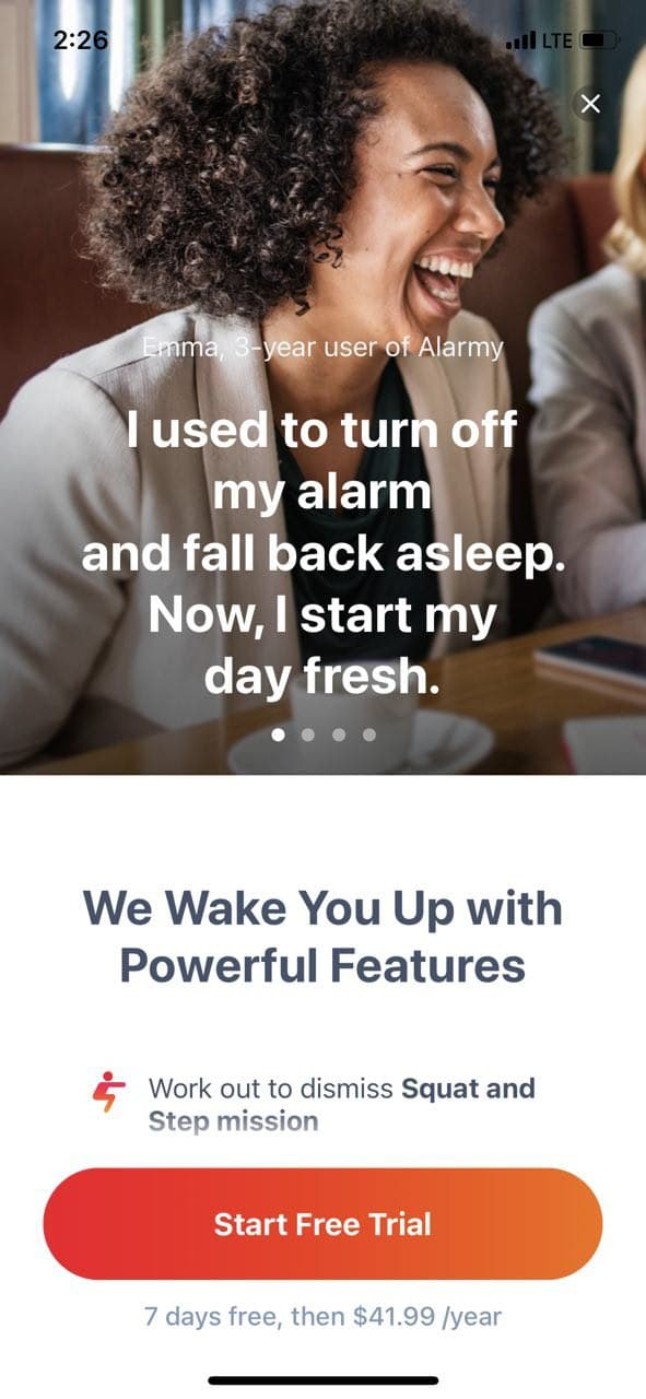 mobile paywall screen example for apps from Lifestyle category – Alarmy - Morning Alarm Clock