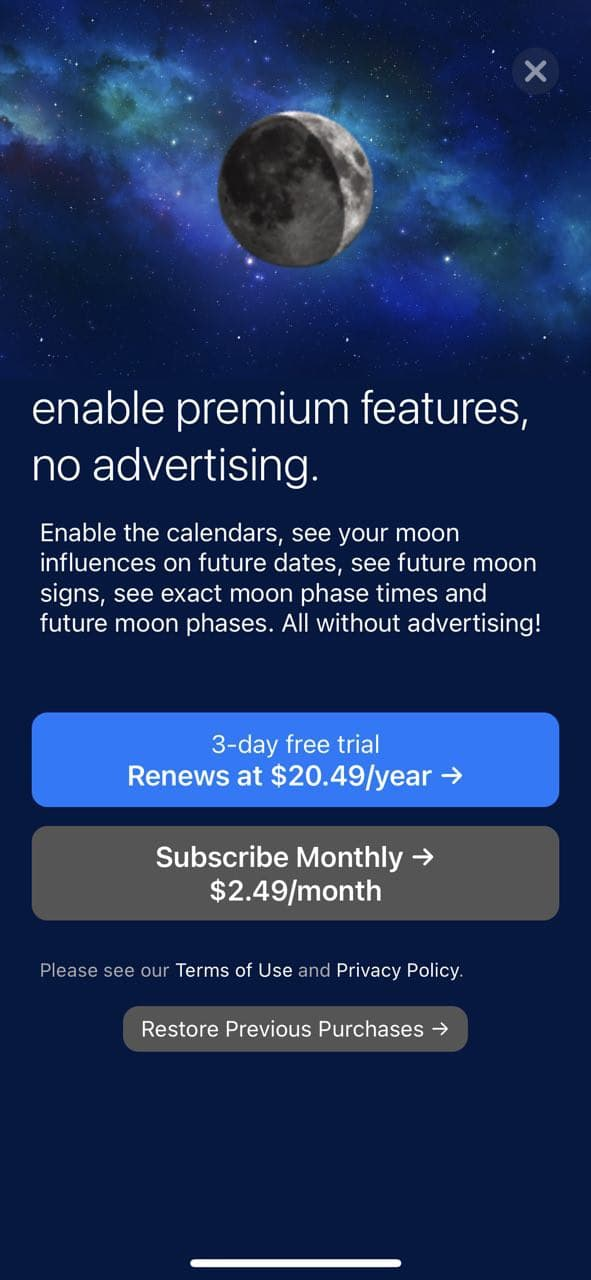 mobile paywall screen example for apps from Lifestyle category – Full Moon Phase