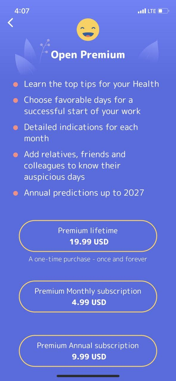 mobile paywall screen example for apps from Lifestyle category – Horoscope Tibetan Daily Norbu