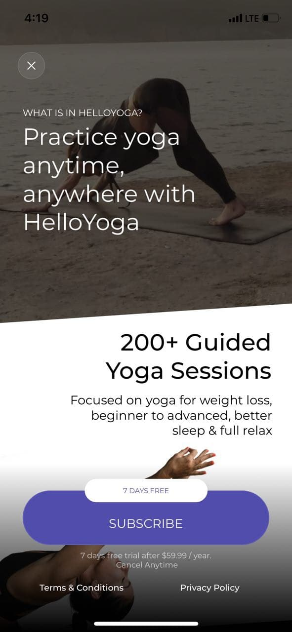 mobile paywall screen example for apps from Health and Fitness category – HelloYoga - Workout & Fitness