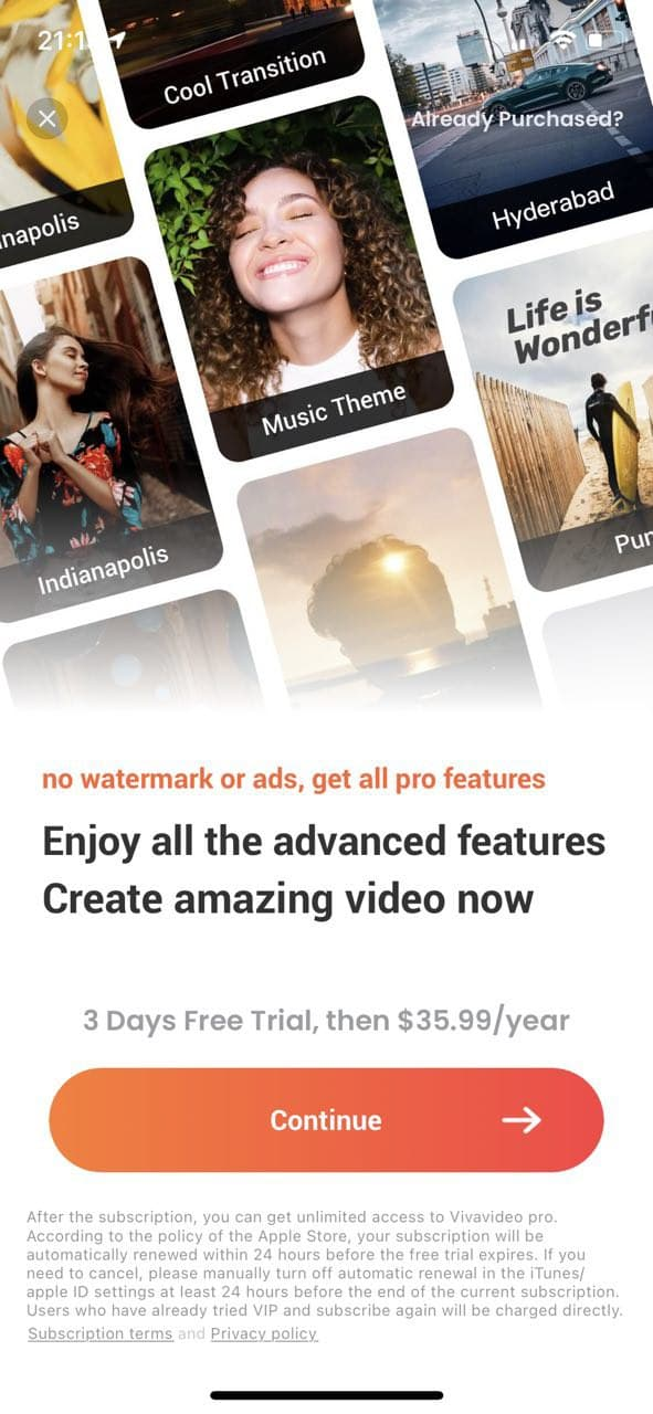 mobile paywall screen example for apps from Photo and Video category – VivaVideo - Video Editor&Maker