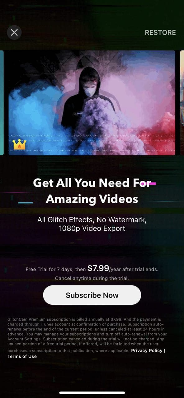 mobile paywall screen example for apps from Photo and Video category – GlitchCam - Video Effects