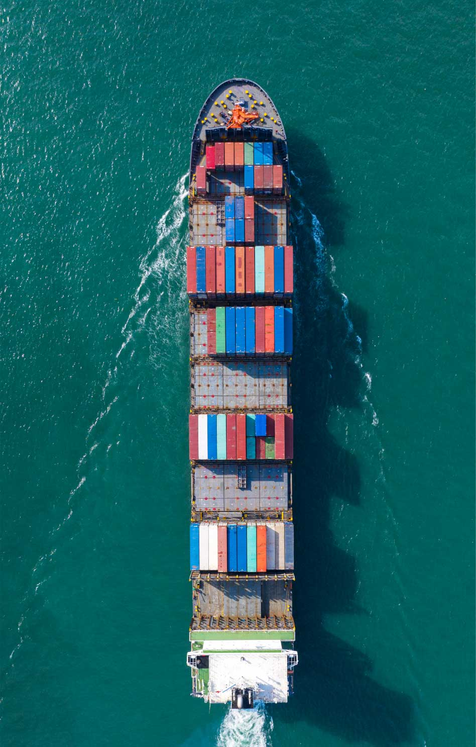 Aerial shot of a container ship in the ocean
