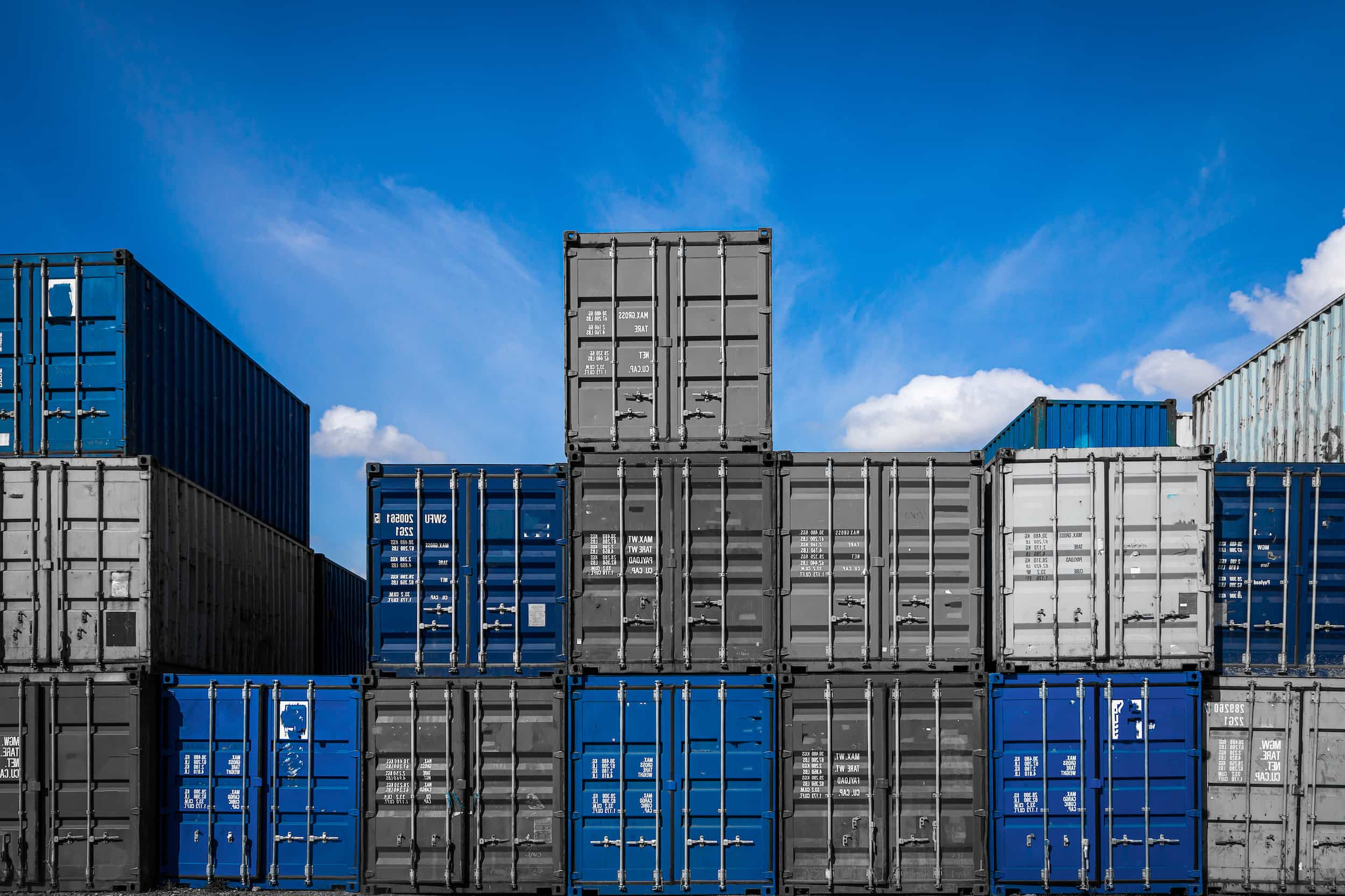 Shipping containers stacked on top of eachother