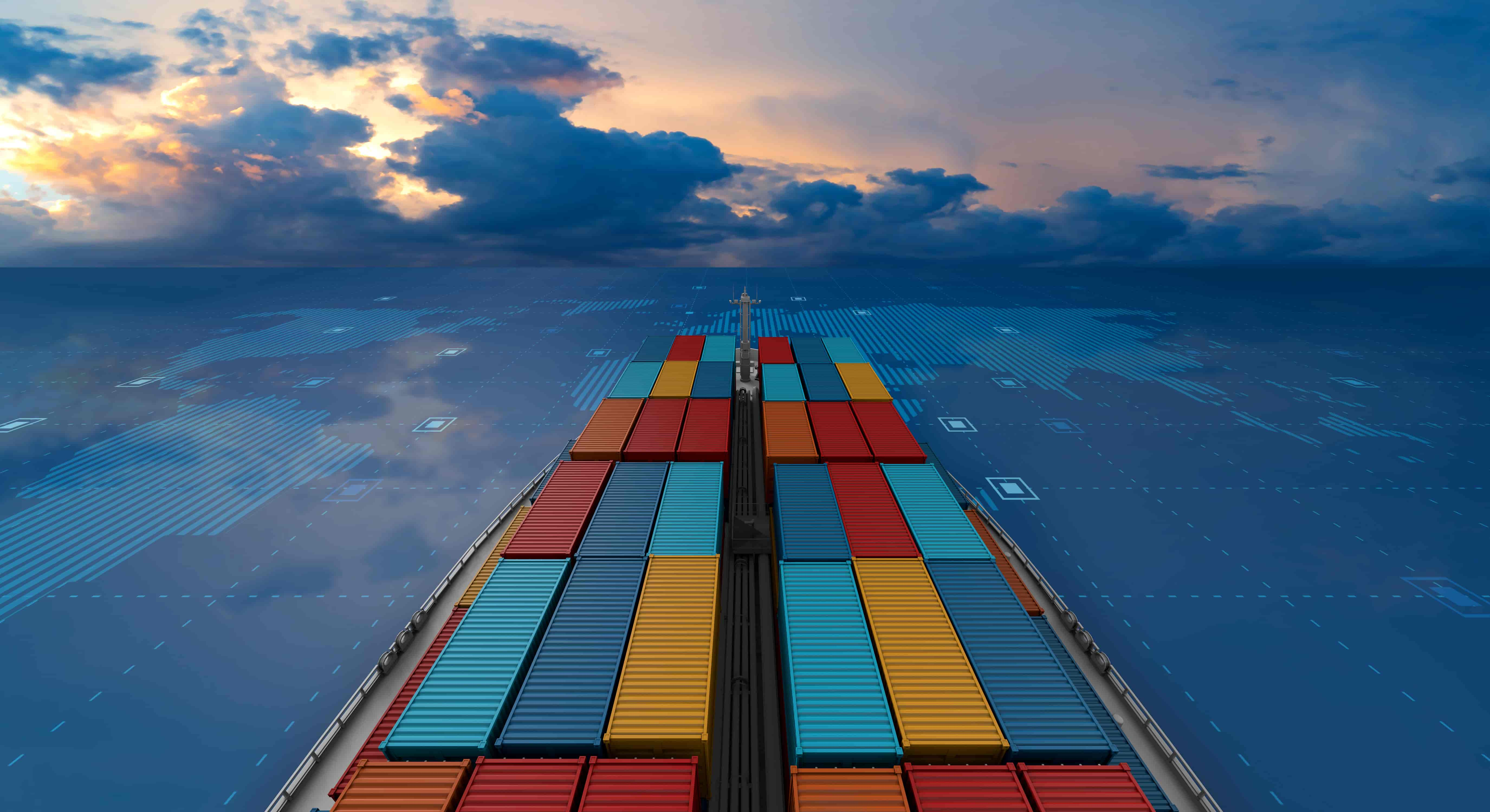 A huge ocean cargo ship laden with containers on a virtual sea