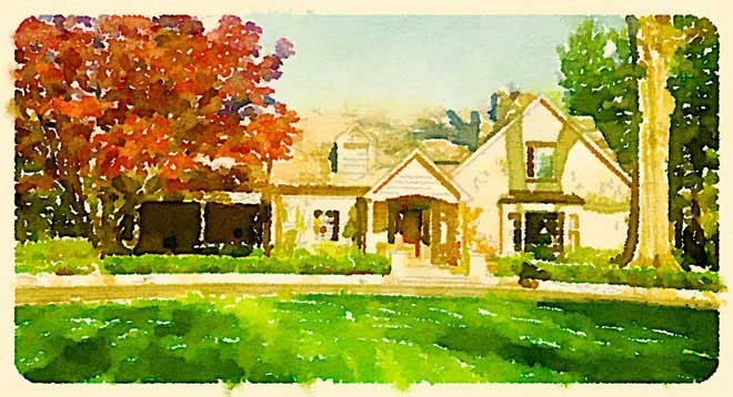 watercolor style painting of Bexley home
