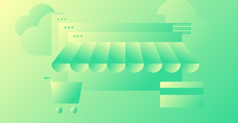 Abstract illustration of store front to represent the moving your business online course