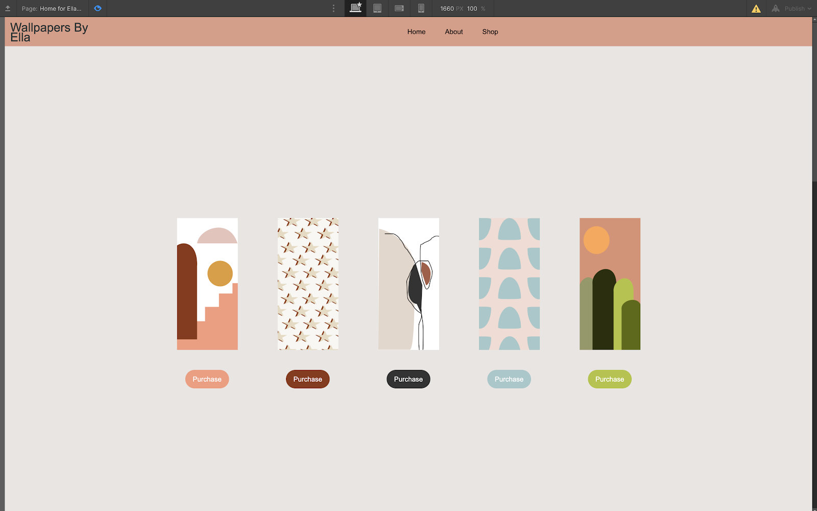 Example No Code Camp project of website with custom wallpaper art ecommerce store