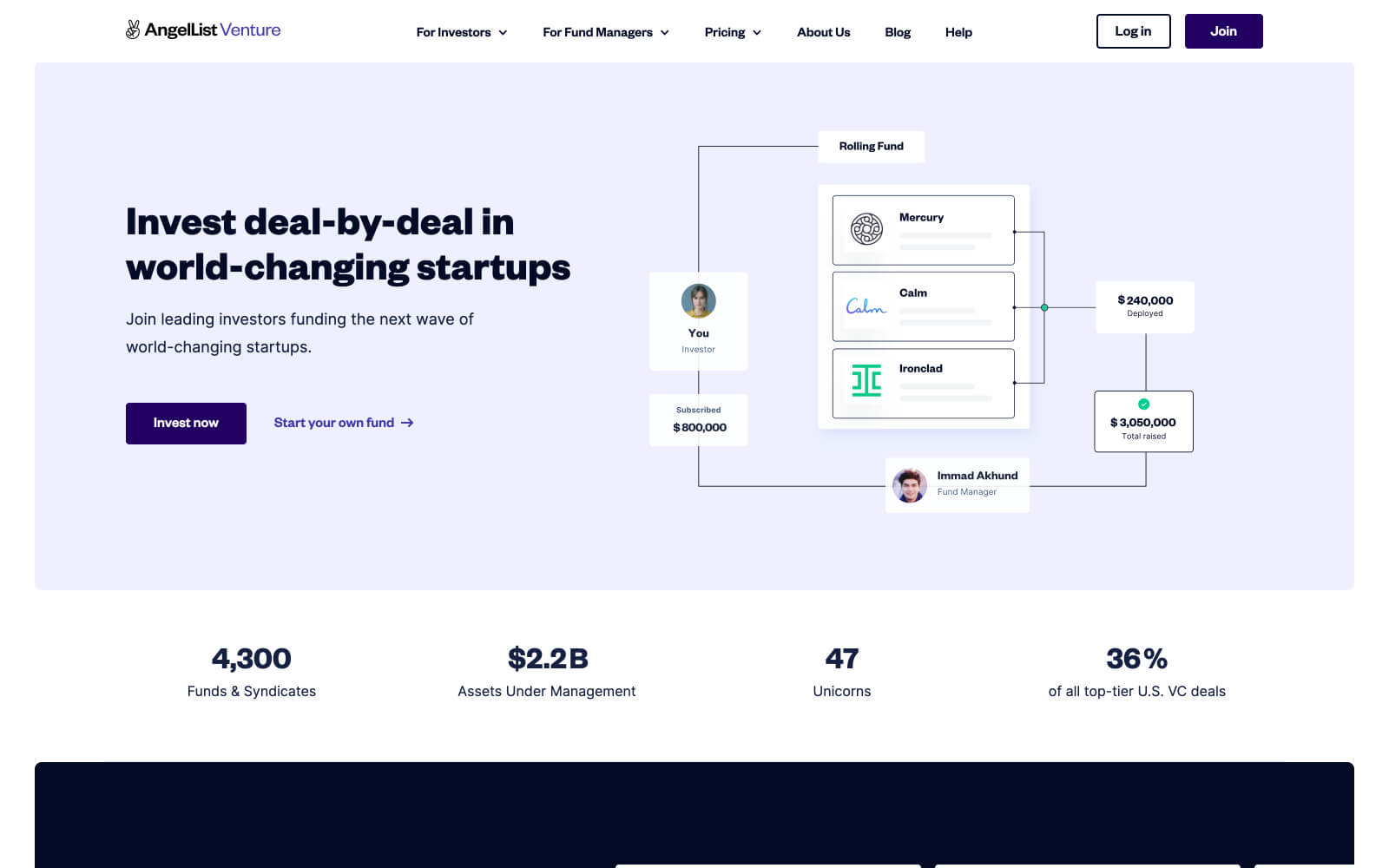 """The AngelList website that feels corporate and professional with an diagram of investment deal processes of startup tech companies next to a tagline of """"Invest deal-by-deal in world-changing startups"""""""