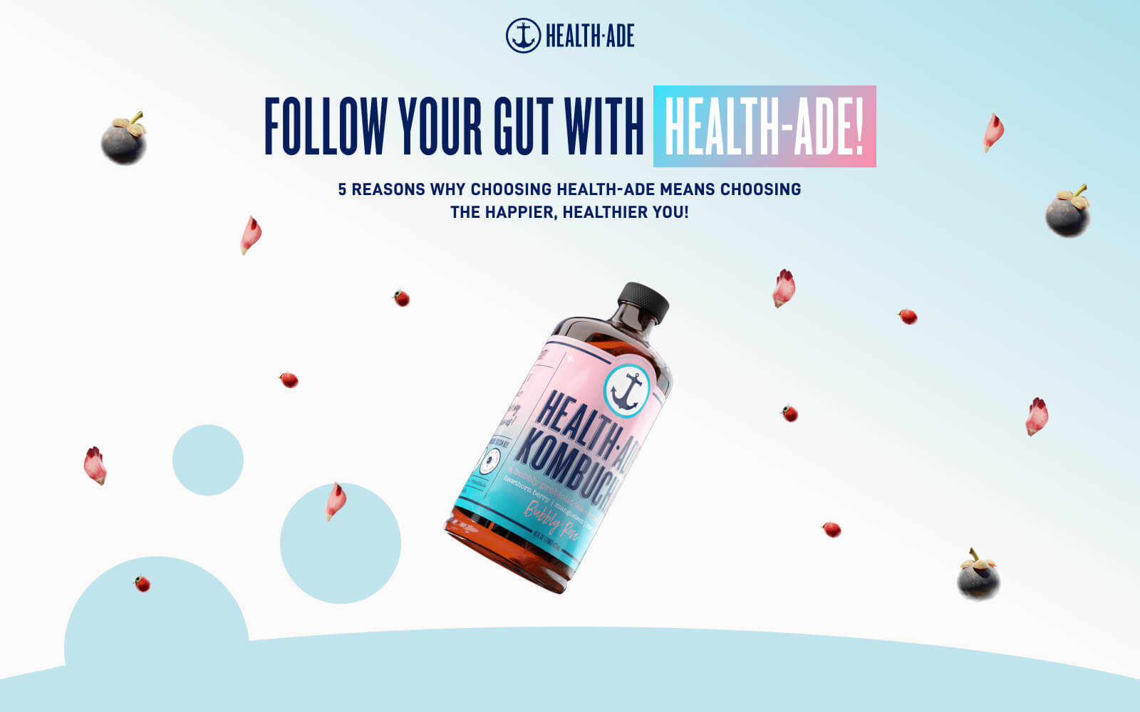 """The Health-Ade website portraying fruit and floral raw ingrediants for their beverage floating over a light gradient background with a featured bottle in the middle and large tagline saying """"Follow your gut with Health-Ade"""""""