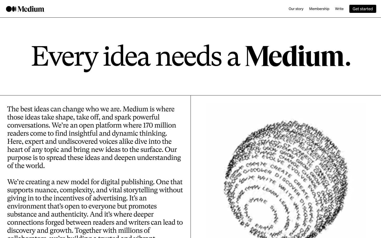 """The Medium website boldy proclaiming """"Every idea needs a Medium"""" as their tagline above a spinning globe of words like create, discover, learn, share, evolve, etc."""