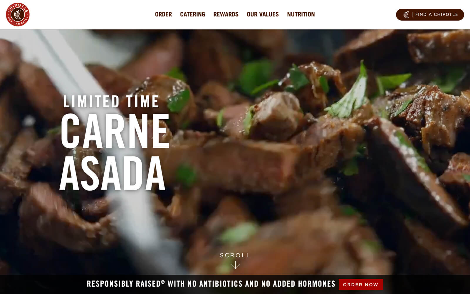 Chipotle's website utilizes mouth watering full-bleed background videos to help visitors imagine being next to the grill with the heat, smell, and flavors.