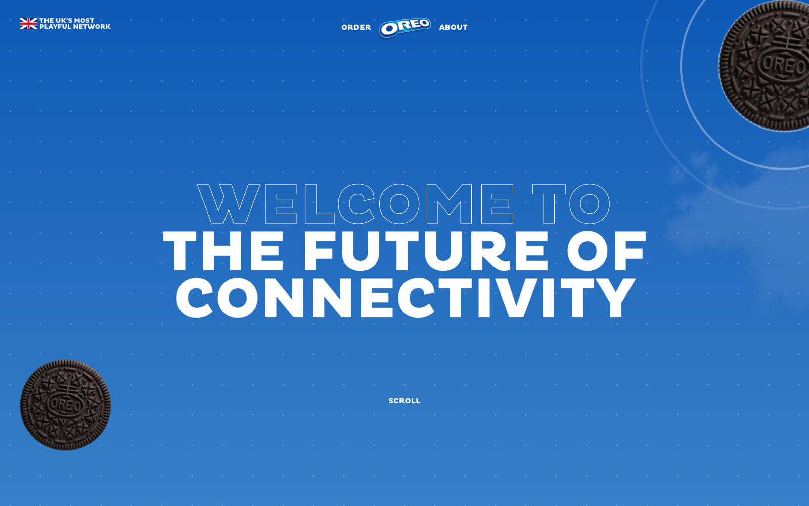 The Oreo Playful Networks website with playful animations, visuals of Oreo cookies, and inspiring descriptions.
