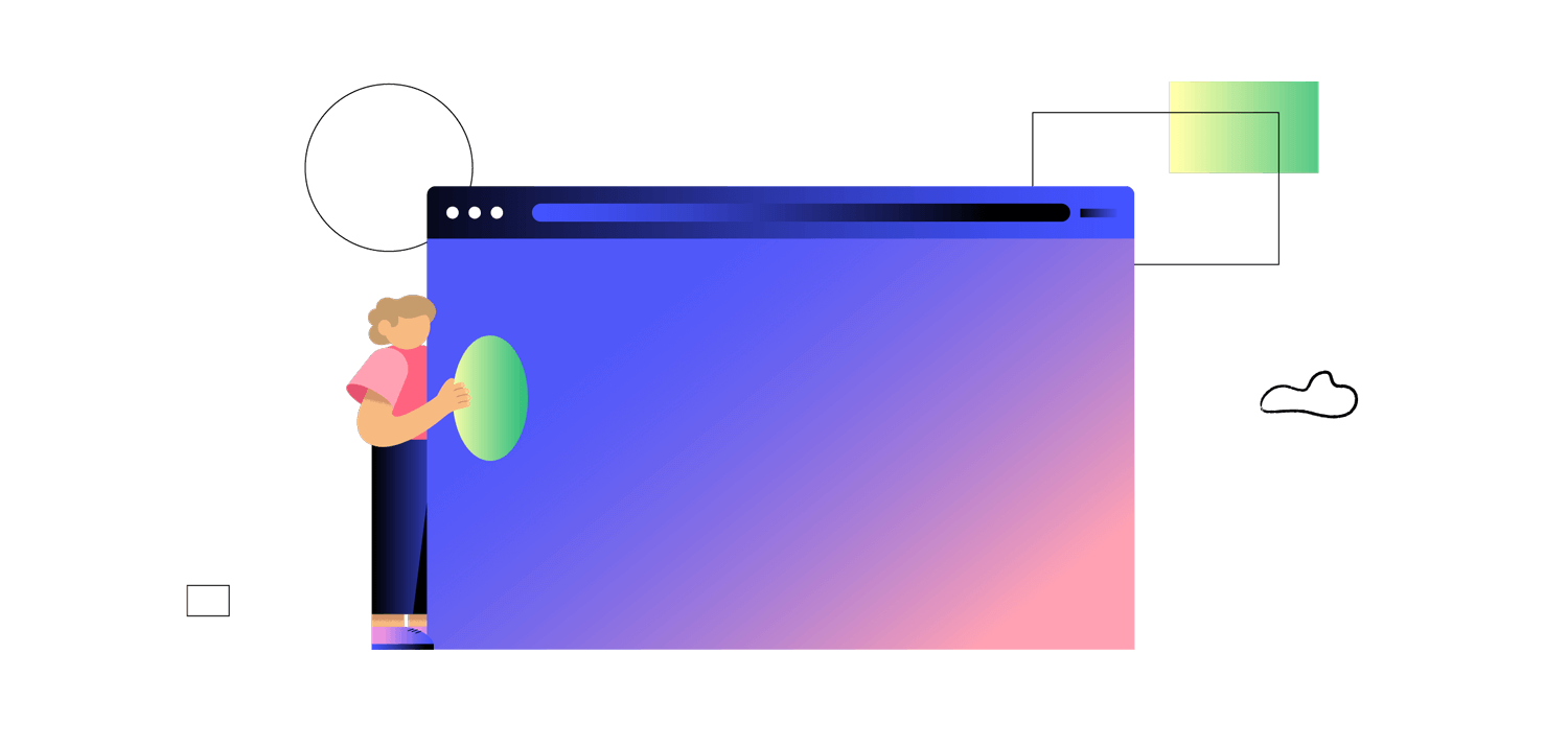 Illustration of a person placing a shape on a browser window with abstract shapes in the background