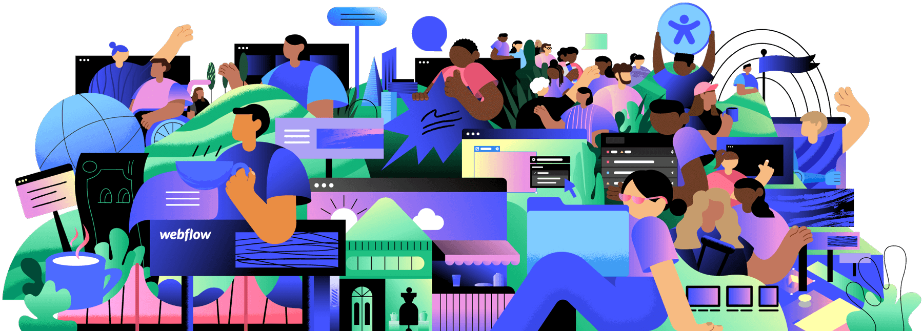A diverse group of illustrated people lounge around a landscape of Webflow websites and features launched in 2020.