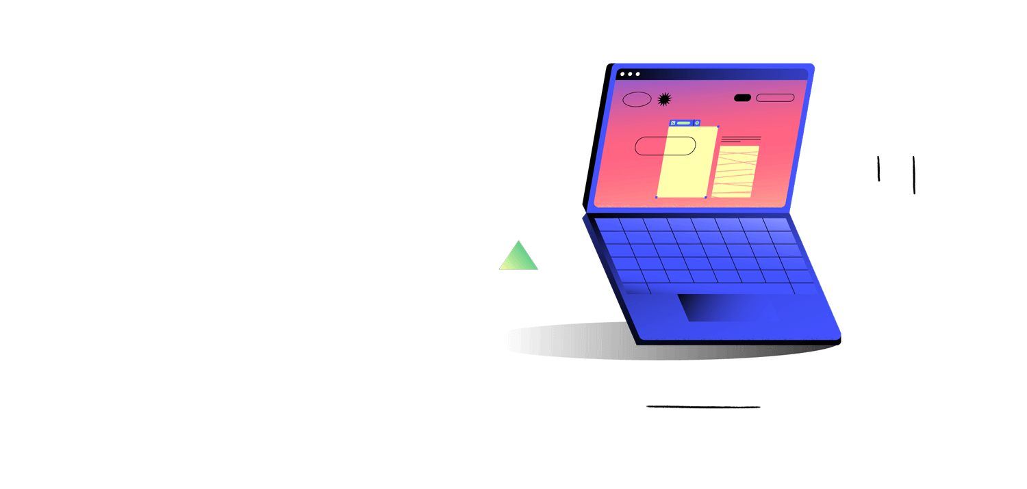 Illstration of abstract shapes and a open laptop computer