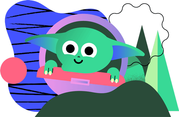 Illustrated baby yoda character in a floating orb over a background of abstract shapes