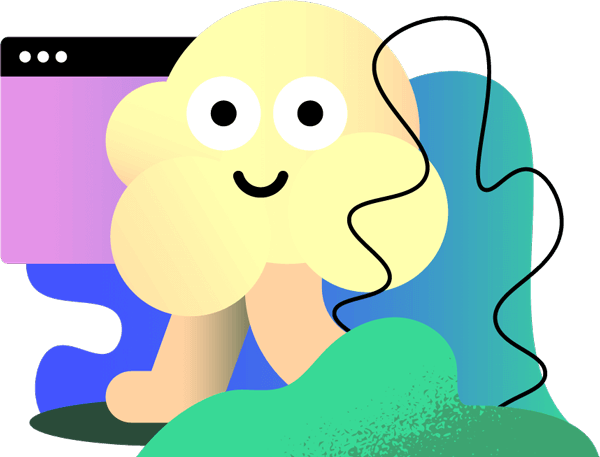 Illustrated popcorn character smiling over a background of a browser icon and abstract shapes