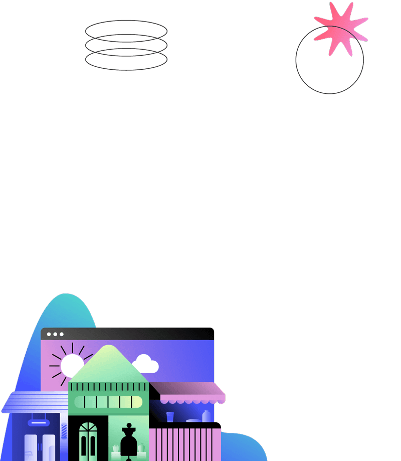 Illustration of a store front and buildings in front of a web browser representing online stores