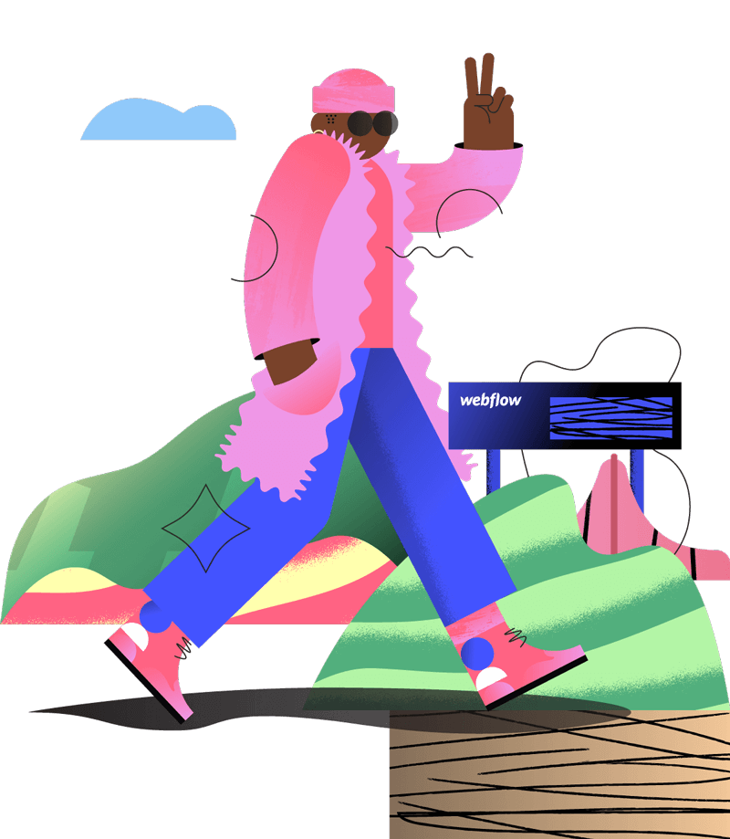 Illustrated character walking in a pink jacket, hat and sunglasses holding up the peace jesture over a background of abstract hills