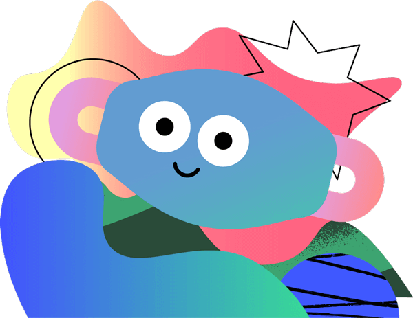 Illustrated face mask character that is smiling and floating over a background of abstract shapes