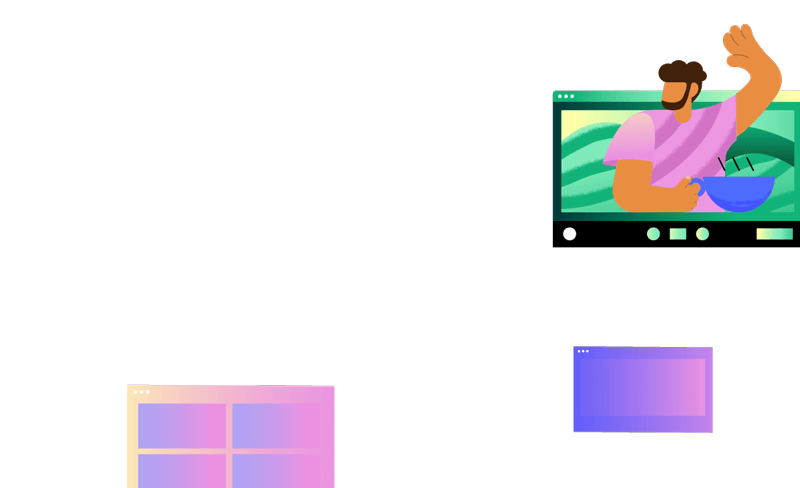 Another illustrated character waving within a video call window with a bowl of soup and among other abstract browser window icons
