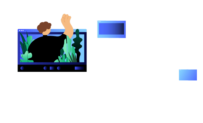 Illustrated character waving towards another character out of a video call browser window