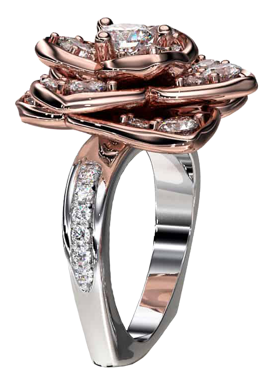 A wonderful rose and white gold ring with diamonds.