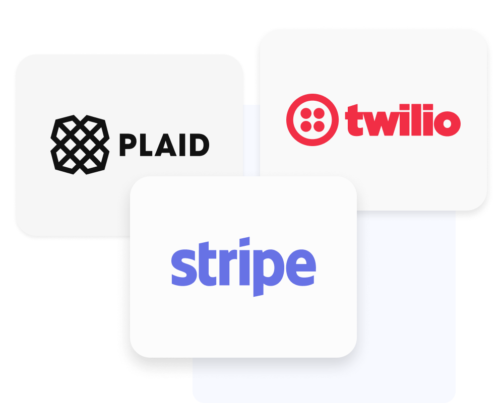 Plaid, Twilio and Stripe logos