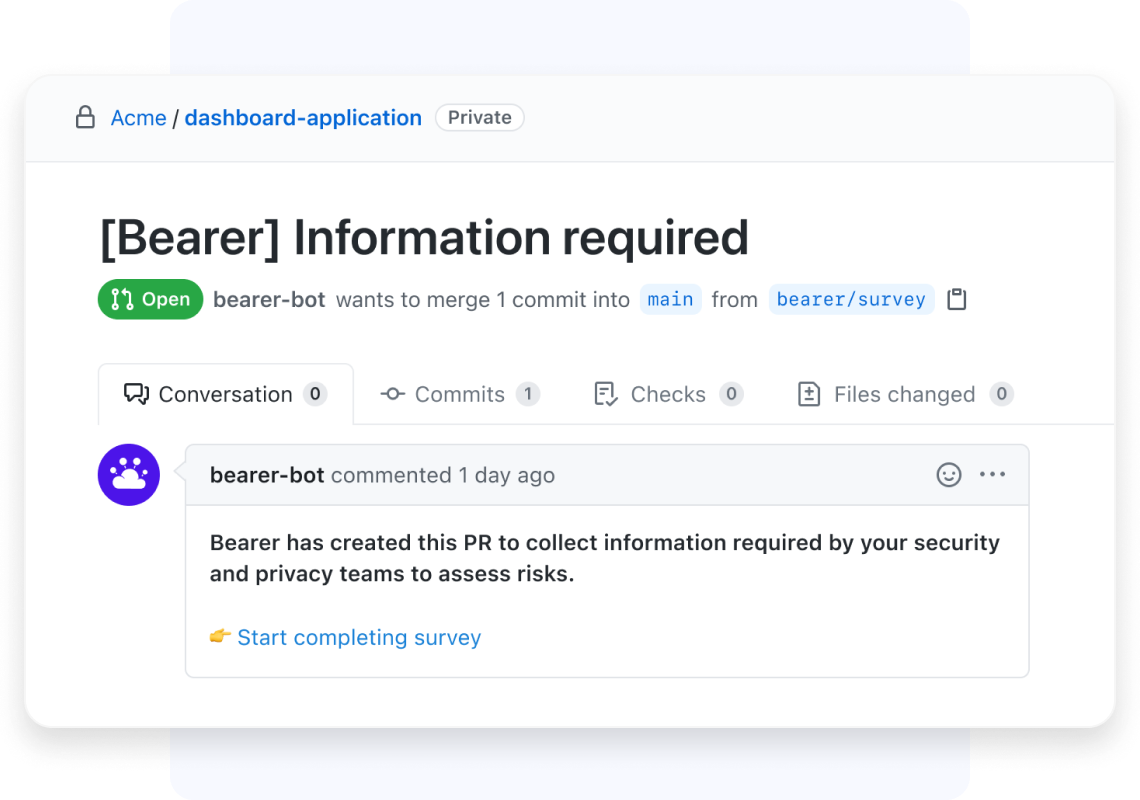 A pull request from Bearer on Github asking to complete the security & privacy survey.