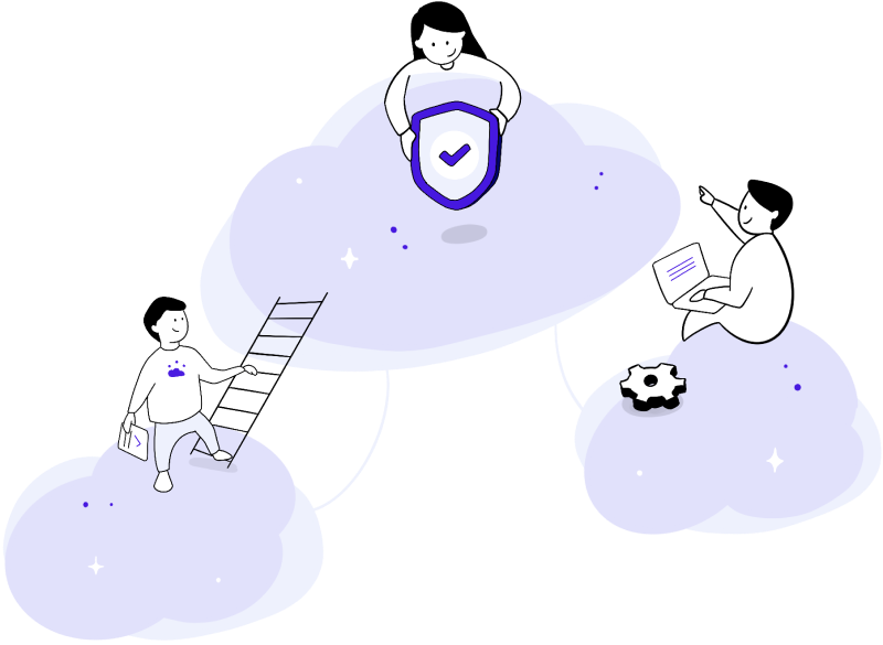 Illustration of three people working.