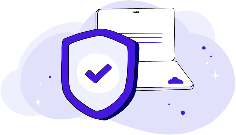 Illustration of a computer with a security shield.