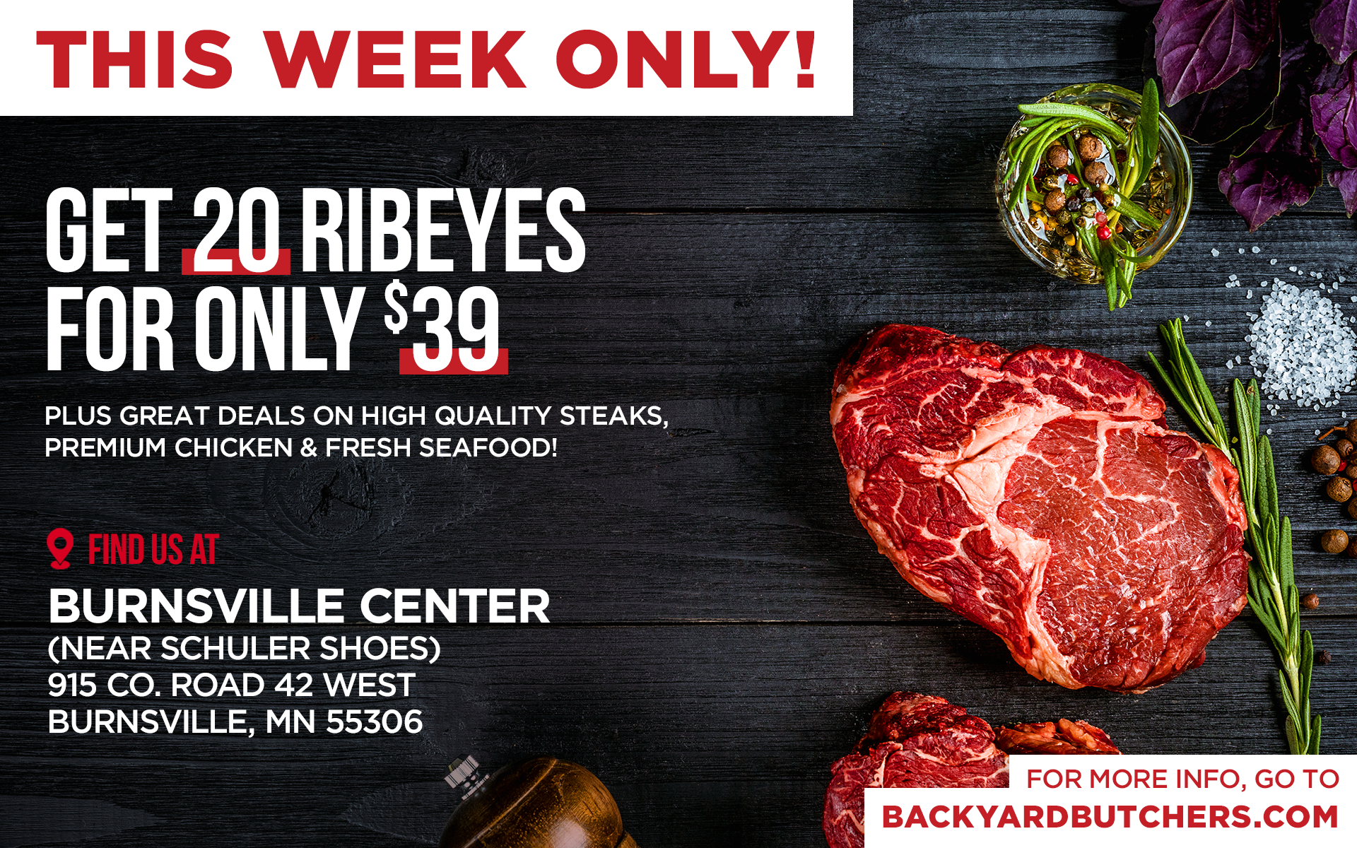 ribeye agains black background with herbs and information on the sale.