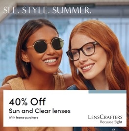 40% Off Sun and Clear Lenses with Frame Purchase Poster