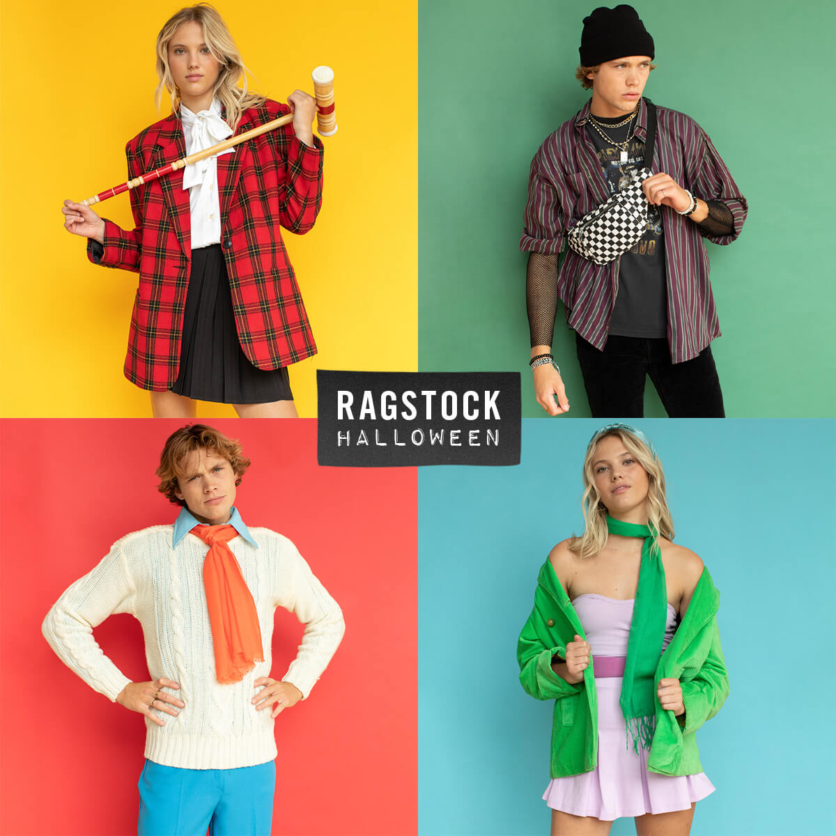 Four different teens wearing apparel styled as the Scooby Doo characters
