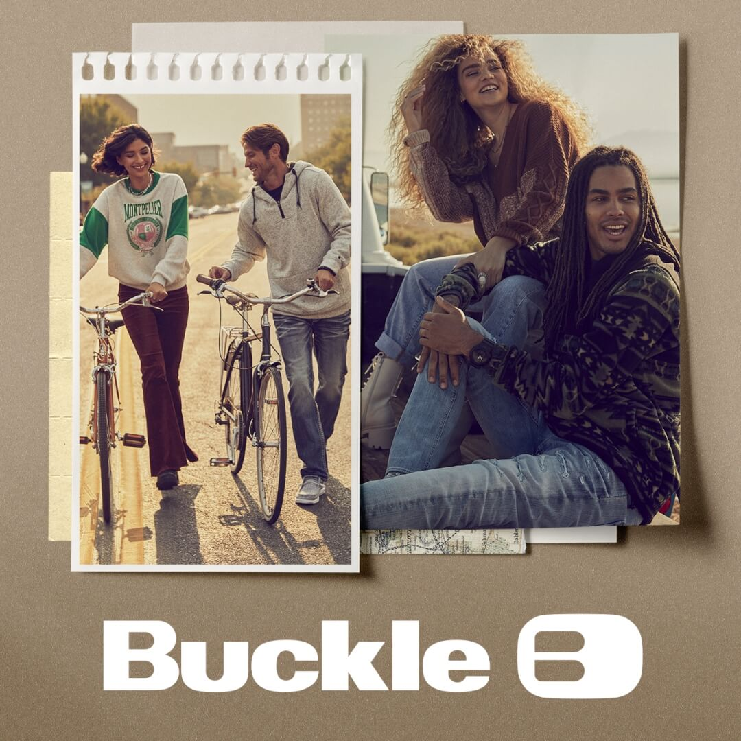 Two young people wearing casual Buckle apparel while walking with bikes overlaid on a photo of a different couple wearing Buckle jeans and casual sweaters