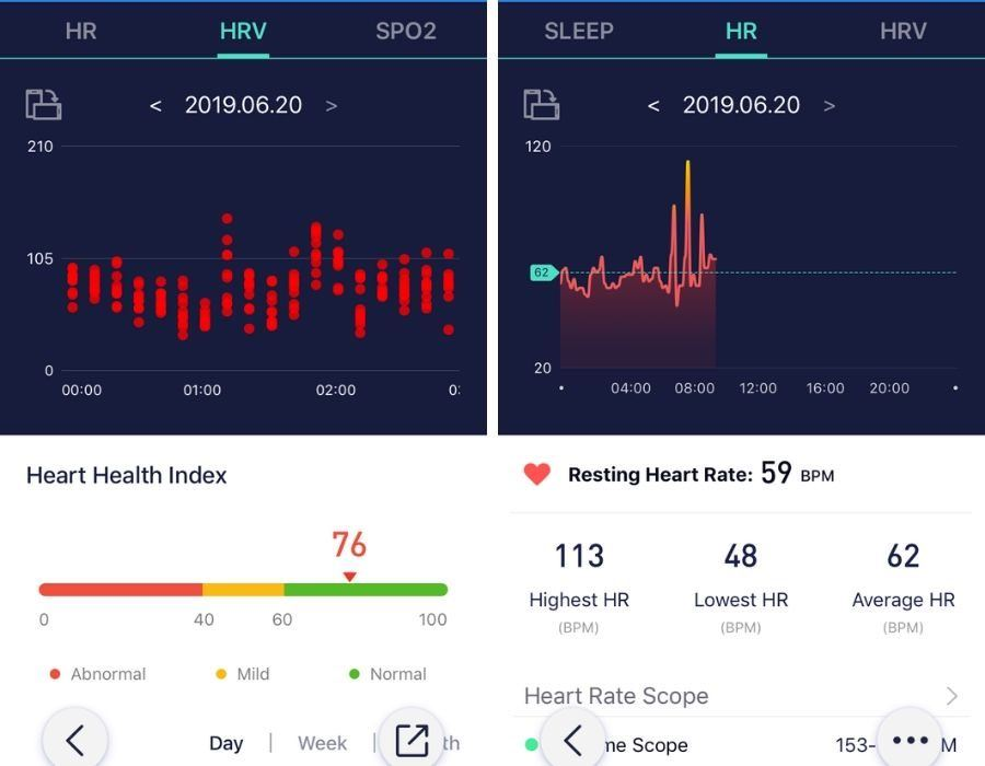 Morepro app heart rate display