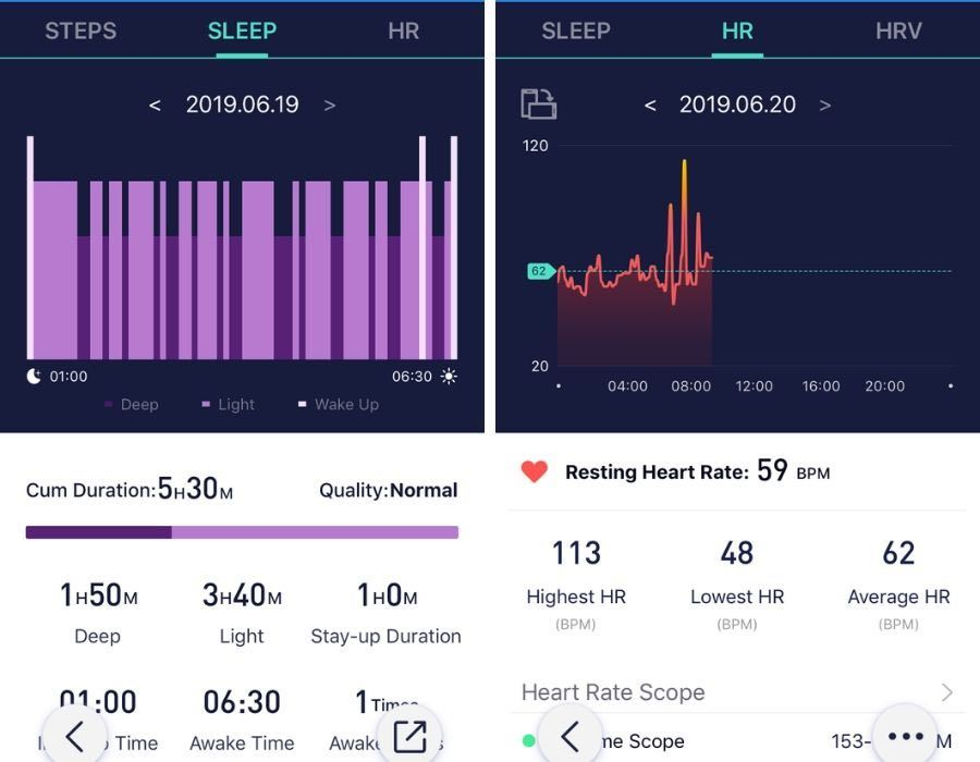 MorePro HRV sleep data display in App