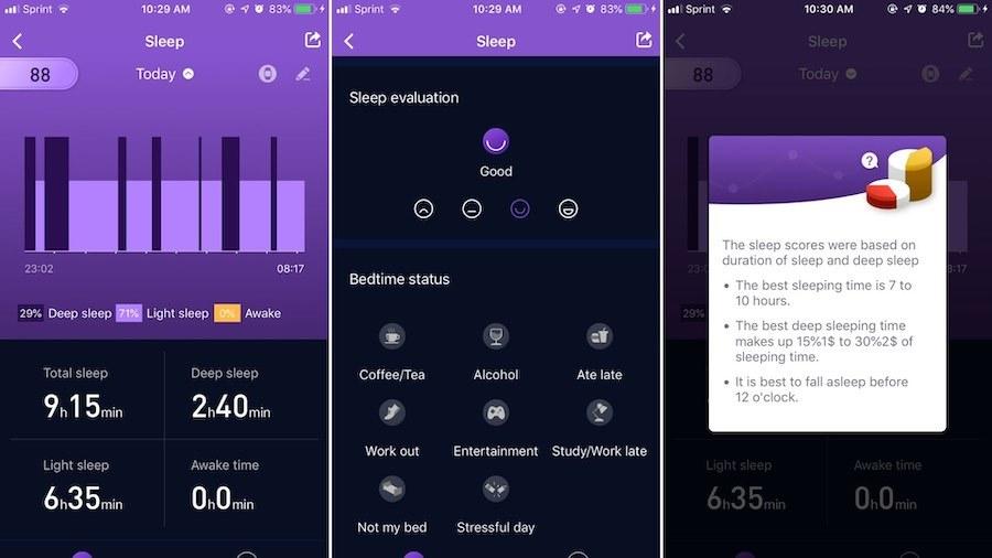 app sleep dashboard screens