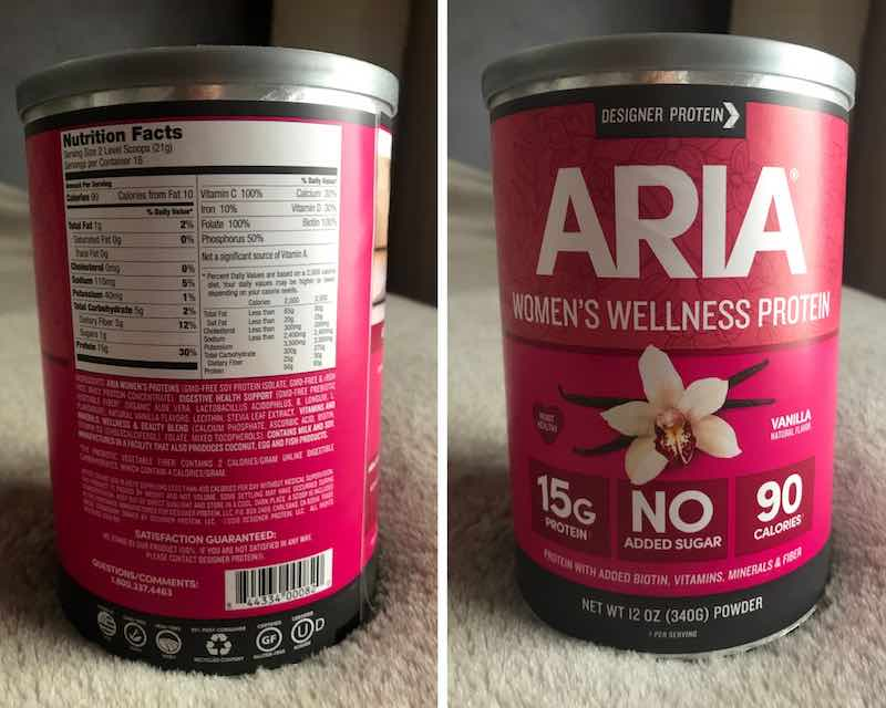 Nutritional label and ingredients