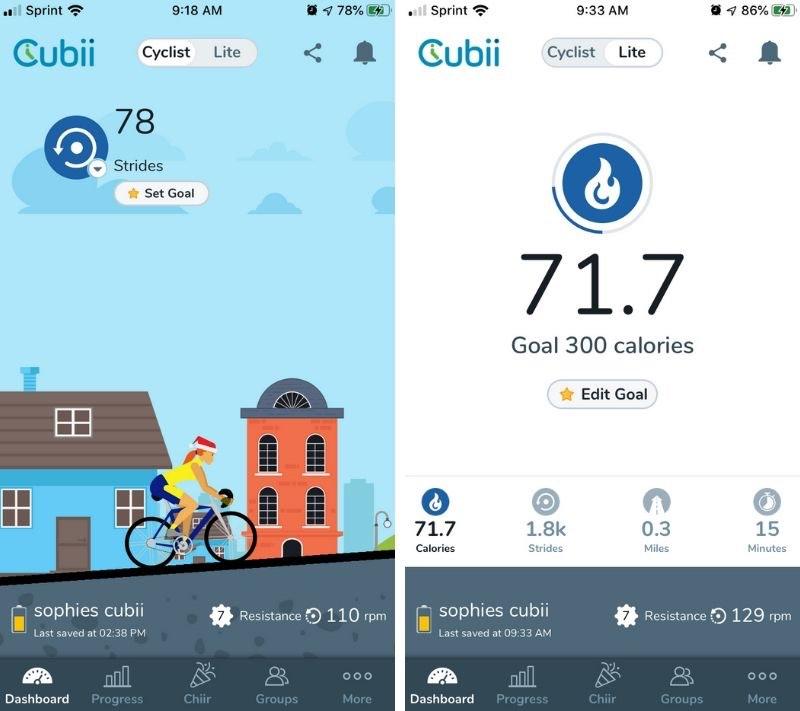 Cubii Pro App Dashboard