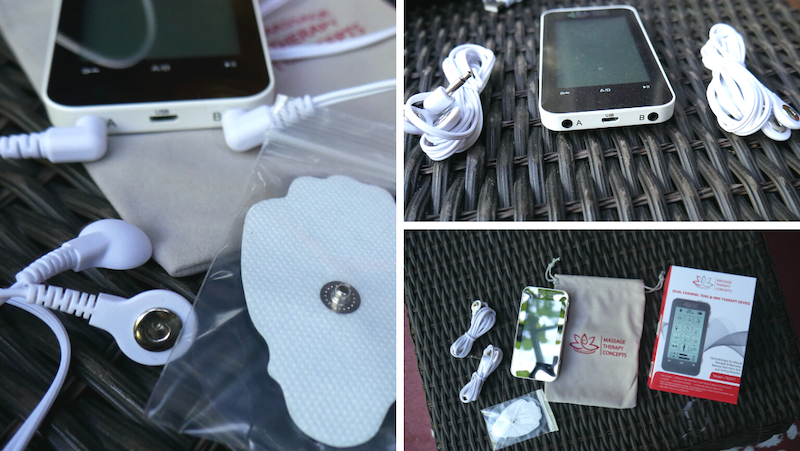 TENS and EMS Unit with the cables plugged into the ports