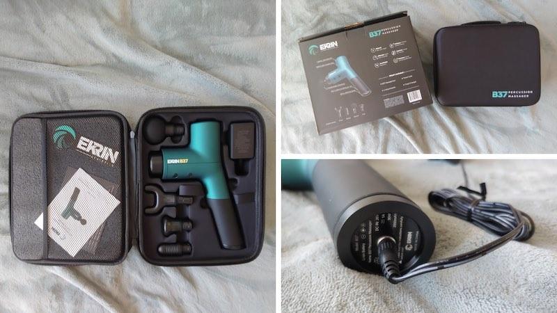 Erkin B37 massage gun charging port, travel case, and attachments.