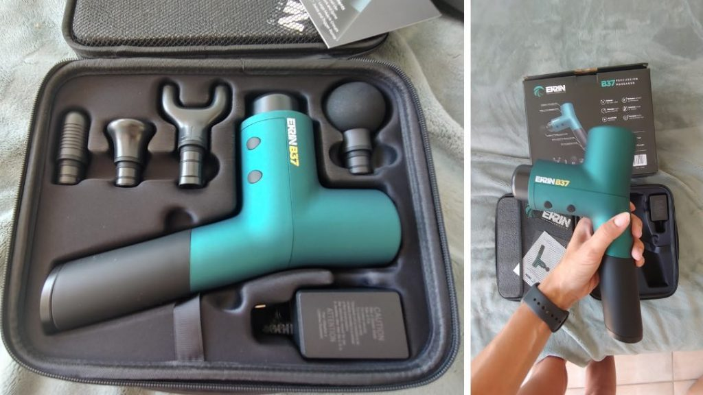 The Ekrin B37 massage gun in the case with attachments.